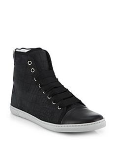 Lanvin - Croc-Embossed Leather High-Top Sneakers