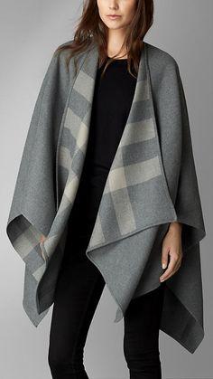 Gris clair Châle en laine doublé de check - Image 1