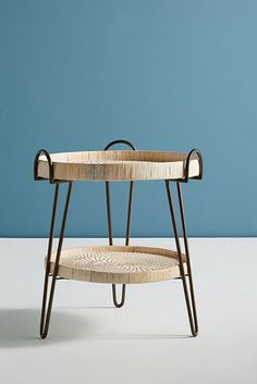 Slide View: 2: Coiled Rattan Side Table