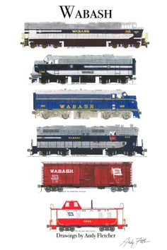 6 hand draw Wabash drawings by Andy Fletcher Rail Train, Train Art, N Scale Model Trains, Model Train Layouts, Train Drawing, Train Posters, Norfolk Southern, Train Pictures, Steam Engine