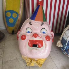 Large Vintage Colourful Clowns Head