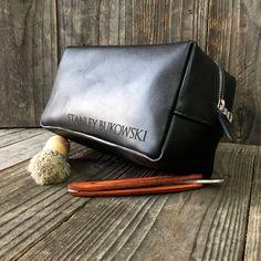 Personalized Dopp Kit - Mens Toiletry Bag - Leather Toiletry Bag -  Groomsman Gift - Black 3e0696054df67