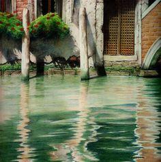 """""""Twin Posts - Venice"""" - Original Fine Art for Sale - © Joe Fitzgerald"""