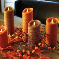Harvest Pillar Candle With Timer Improvements Flameless Candlesled Candlesharvest Decorationsthanksgiving