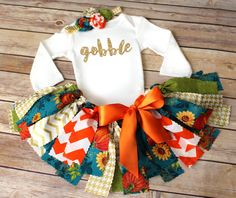 Sunflower Pumpkin Fall Floral Thanksgiving Fabric Tutu Outfit // First Thanksgiving // by FlyAwayJo // Buy it now on Etsy!