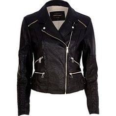 4189d607b4c92 Kurtka damska River Island Vegan Leather Jacket, Biker Leather, Black Faux  Leather Jacket,