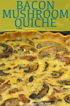 Bacon and mushroom quiche is an easy quiche recipe filled with crispy fried bacon pieces, hearty mushrooms, and lots of cheese. Quiche Recipe Easy Bacon, Bacon And Cheese Quiche, Easy Quiche, Best Quiche Recipes, Healthy Quiche, Burger Recipes, Breakfast Dishes, Breakfast Quiche, Bacon Breakfast