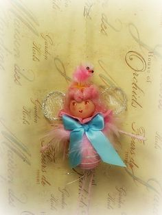Easter egg pixie fairy ornament spring decor by sugarcookiedolls