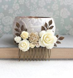Bridal Hair Comb Gold Rose Comb Ivory Cream by apocketofposies