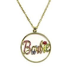 "Barbie Pendant Necklace ; 18"" L; Gold Metal Chain with Multi Color Rhinestones; Lobster Clasp Closure Eileen's Collection. $28.99. Save 52%!"