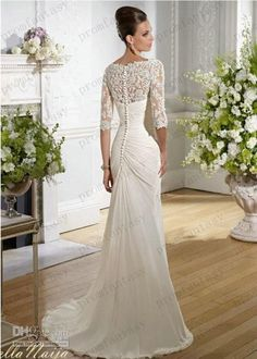 Wholesale Sheath Wedding Dresses - Buy 2014 Vintage Covered Button Beaded Appliques Sheath Goddess Gowns Sheer Long Sleeve Chiffon Beach Wed...