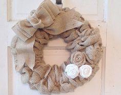 Black Homespun Burlap Wreath/burlap wreath/burlap and