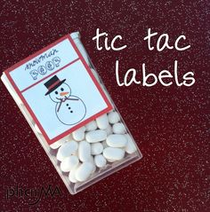 So simple & easy! Thank yous, place settings, personalize your own labels, wrap with lace and tie! Weddings, parties, giveaways. Other tic tac colors for special events. Consider Monograms, photo(s) with wedding date, a favorite saying or scripture. (Snowman Poop Tic Tac Labels Easy to pack for a destination wedding, small and practical. Call PJ concierge destination wedding planning 888-696-4202