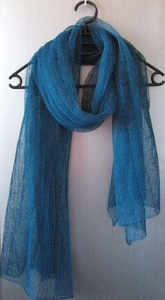 Linen Scarf Blue Green Light by Initasworks