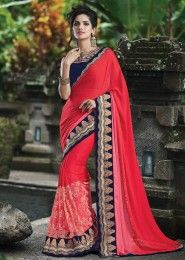 Party Wear Red Georgette Embroidery Border Work Saree