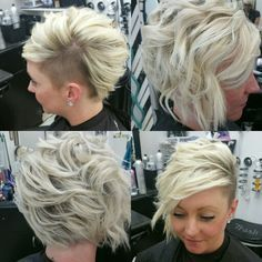 All sides Shaved side undercut assymetrical aline bob