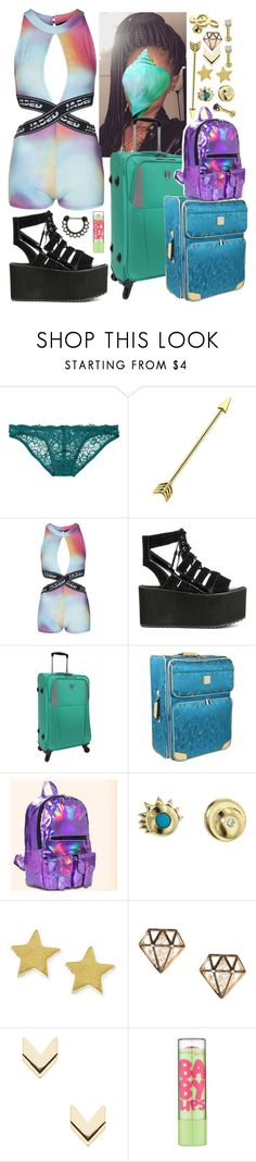 """""""sadie - airport arrival"""" by kinathegreat ❤ liked on Polyvore featuring Deborah Marquit, Topshop, Y.R.U., Diane Von Furstenberg, Mociun, Dogeared, Leslie Danzis, Maybelline and Hot Topic"""