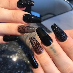 Wicked Halloween Nails 2019 With An Accent Spider Web Nail! nails Best H. Wicked Halloween Nails 2019 With An Accent Spider Web Nail! nails Best Halloween Nail Ideas in 2019 Halloween Press On Nails, Cute Halloween Nails, Halloween Acrylic Nails, Halloween Nail Designs, Best Acrylic Nails, Acrylic Nail Designs, Halloween Halloween, Halloween Costumes, Halloween College