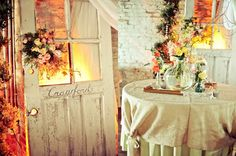 Vintage centerpieces at The Chicory in New Orleans. Decor by www/beesweddingdesigns.com