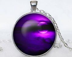 Full Moon Necklace Moon Pendant Galaxy  Space  Purple Moon  Jewelry Necklace for men  Art Gifts for Her(P11H01V03)