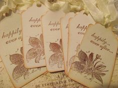 Wedding Wish Tags  Hand Stamped   Inked  Edges by ShoppeLaFluer