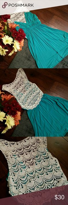 EUC Pretty 👗 crochet midi 👗 dress Turquoise cotton midi dress with elastic waist and crochet back. Tag has been removed, but size is small. Dresses Midi