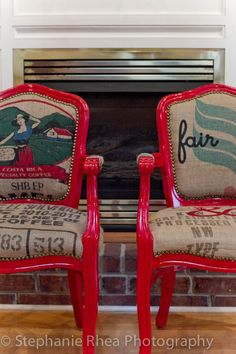 Catherine Ann Herrington Art chairs covered with coffee bags #CoffeeBags