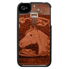 "Tooled Leather ""Horse"" Western IPhone 4 Case"