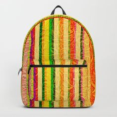 fbd57ad054 Colorful Stripes and Curls Backpack by  Gravityx9 at  Society6   back to  school