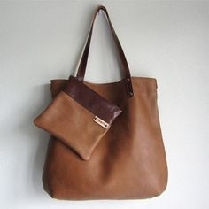 Leather Tote bag / large shopper BIG and zipper pouch by rinarts