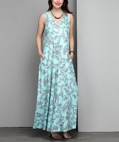 Loving this Blue Paisley Sleeveless V-Neck Maxi Dress - Plus on #zulily! #zulilyfinds
