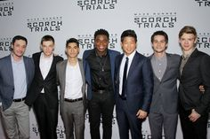 The Men of the  Scorch Trials Maze Runner The Scorch, Maze Runner Cast, Maze Runner Movie, Maze Runner Trilogy, Maze Runner Series, Thomas Brodie Sangster, Dylan O'brien, Jacob Lofland, The Scorch Trials