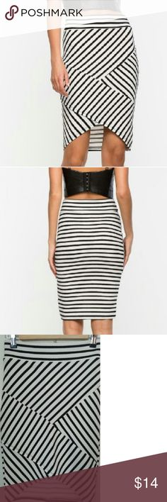 """NWT ASYMMETRICAL LIFE PENCIL SKIRT Be the life of the party in this striking pencil skirt, featuring diagonal stripes and asymmetrical hem. High-ruse waist. Finish edges.  Brand New with Tags Measurement approx. 24""""length, 26""""waist 96% Polyester, 4% Spandex Hand wash cold Model is in size S a'gaci Skirts Asymmetrical"""