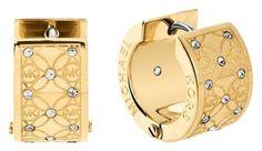 Michael Kors Michael Kors MKJ4475710 Women's Huggies Logo Etched Crystal Hoop Gold tone Earrings NEW! $85