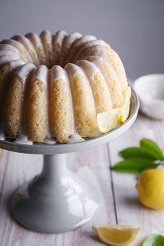 This lightly sweetened cake is tender, moist, and bursting with lemon flavor. It's free of dairy and eggs, with a gluten free and refined sugar free option. Lemon Yogurt, Yogurt Cake, Almond Milk Latte, Vegan Lemon Cake, Muffins, Lemon Layer Cakes, Brunch, Dairy Free Yogurt, Bunt Cakes