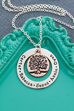 Family Tree Personalized Names Necklace – DII - Grandmother Mom Gift - Handstamped Handmade Jewelry – Inch Discs – Custom Names - Fast 1 Day Shipping Top Mother's Day Gifts, Unique Mothers Day Gifts, Mother Day Gifts, Jewelry Christmas Tree, Christmas Gifts For Mom, Christmas Trees, Diamond Initial Necklace, Name Necklace, Gold Necklace