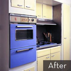 VERY similar kitchen to lic!  appliances and cabinets painted, and it looks great.