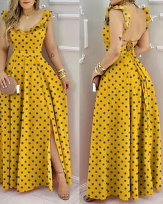 Trend Fashion, Fashion Outfits, Womens Fashion, Fashion Design, Maxi Dress With Slit, Online Dress Shopping, Dress Online, Vacation Dresses, Yellow Dress Summer