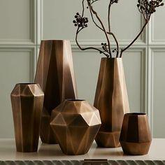 """West Elm // Faceted Metal Vases // $24-69 // Bud: 4.5""""diam. x 5.5""""h. Medium: 4.75""""diam. x 9.5""""h. Wide: 6.7""""diam. x 7.48""""h. Tall: 6.3""""diam. x 13""""h. Extra Tall: 7.5""""diam. x 15""""h."""