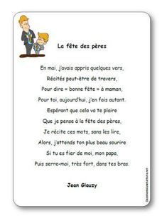 Paroles de la poésie La fête des pères Jean Glauzy : En mai, j'avais appris quelques vers, Récités peut-être de travers, Pour dire « bonne fête » à maman... French Lessons, Childhood Education, Art Education, Gift Tags, Fathers Day, Kindergarten, Poems, Messages, Bullet Journal