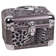 9.25 inch Black & White Leopard Print Aluminum Makeup Cosmetic Travel Organizer Train Case w/Extendable Jewelry Tray by Sunrise, http://www.amazon.com/dp/B004MCLDP8/ref=cm_sw_r_pi_dp_t0Vjrb109DXT6