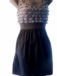 $18.75  Little Black Dress, ruffled top, Flattering Waist Cut, Head Turner! sz large