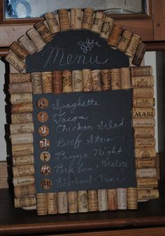 Recycled Wine Cork Menu Board