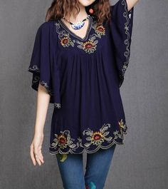 Navy Blue Women Embroidered Tunic Boho Gypsy Batwing Peasant Top Blouse Free Size