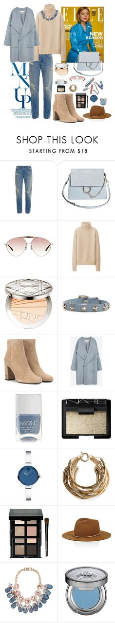 """Comfy yet stylish"" by sarah-alam ❤ liked on Polyvore featuring J Brand, Chloé, Valentino, Uniqlo, Christian Dior, RED Valentino, Yves Saint Laurent, Zara, Nails Inc. and NARS Cosmetics"