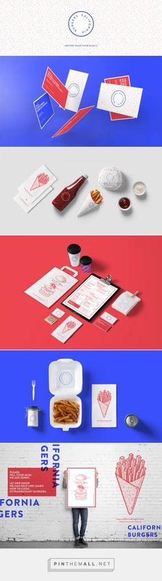 California Burgers on Behance by Ioana Archontaki Athens, Greece curated by Packaging Diva PD. Fictional burger brand packaging that looks pretty tasty. Best of all, red, white and blue. Art Direction Branding Graphic Design.
