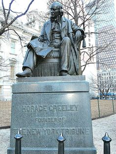 Bronze statue of newspaper editor and political leader Horace Greeley by Bronze statue by John Quincy Adams Ward (June 2...