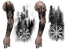 Viking Tattoo Sleeve, Wolf Tattoo Sleeve, Best Sleeve Tattoos, Tattoo Sleeve Designs, Wrist Tattoos For Guys, Forearm Tattoo Men, Celtic Tattoos, Viking Tattoos, Creative Tattoos