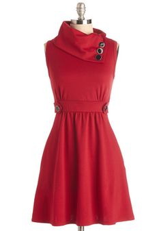 Coach Tour Dress in Rouge - Red, Solid, Buttons, A-line, Sleeveless, Casual, Fall, Best Seller, Cowl, Tis the Season Sale, Work, Variation, Winter, Basic, Knit, Nautical, Gals, Maternity, Top Rated, WPI, Full-Size Run, Mid-length