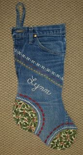 Nebraska Views: Denim Jeans Christmas Stockings.                                     http://nebraskaviews.blogspot.com/2010/11/denim-jeans-christmas-stockings.html.